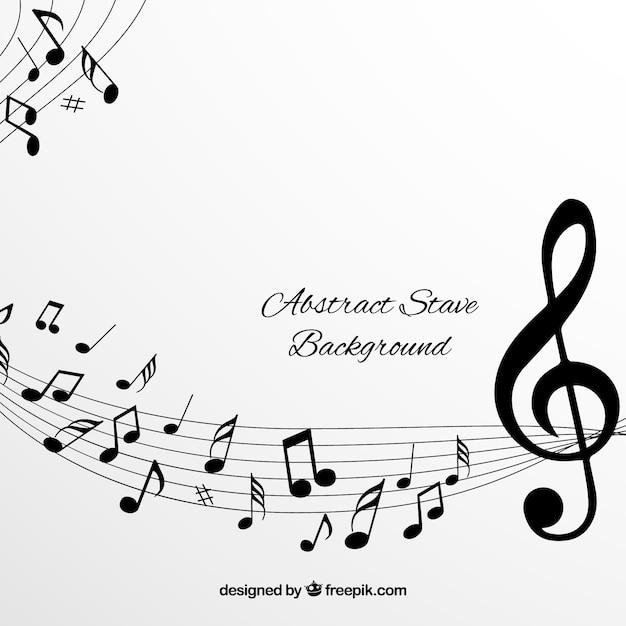 Fond Blanc Pentagramme Avec Des Notes Musicales Noires Vecteur Premium