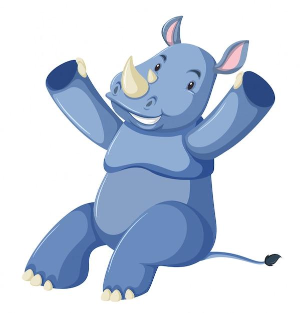 Fond blanc rhino bleu heureux | Télécharger des Vecteurs gratuitement