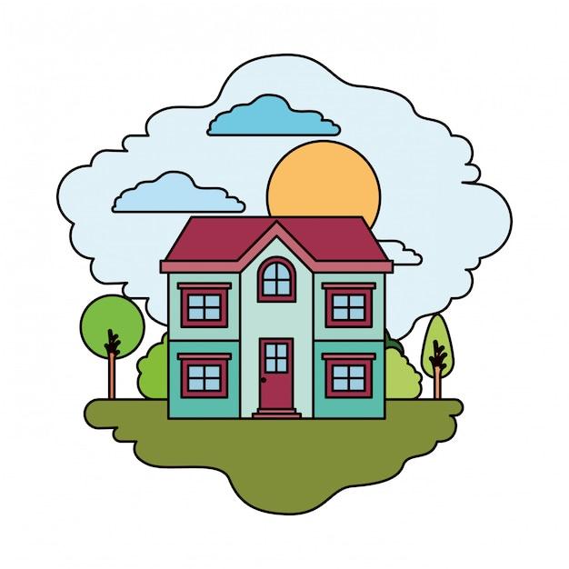 Fond blanc avec scène colorée de paysage naturel et façade maison de deux étages en journée ensoleillée Vecteur Premium