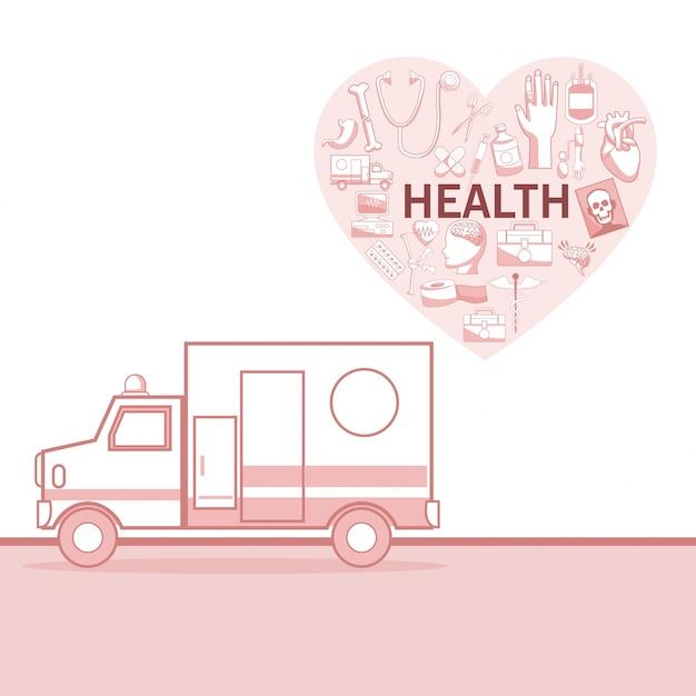 Fond blanc avec des sections de couleur rouge de silhouette ambulance voiture et forme de coeur avec la santé des éléments Vecteur Premium