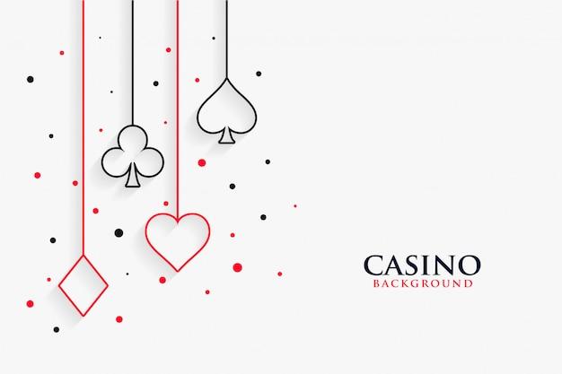 Fond blanc de symboles de ligne de jeu de cartes de casino Vecteur gratuit
