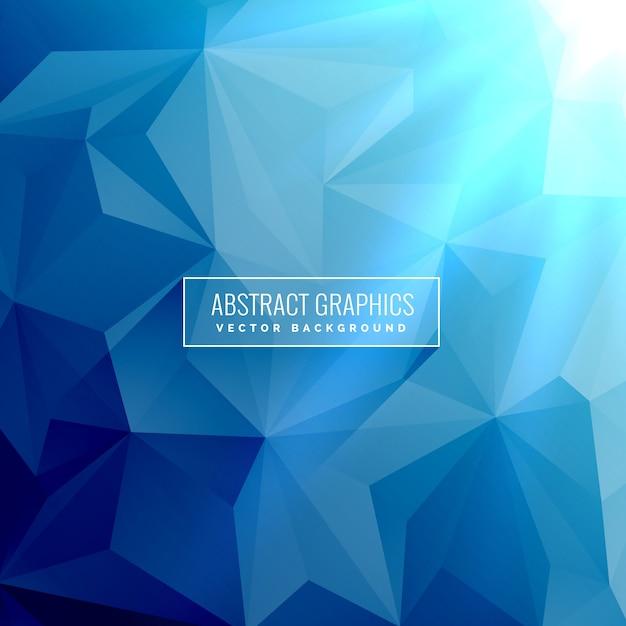 Fond bleu abstrait avec faible poly formes triangulaires Vecteur gratuit