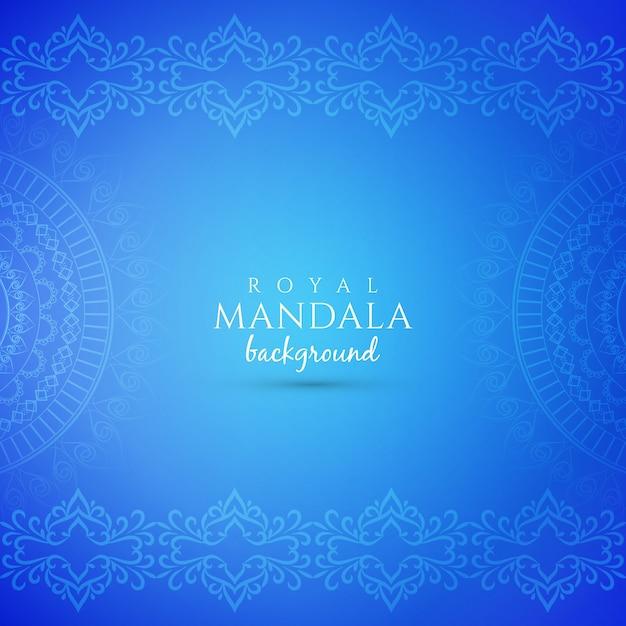 Fond bleu abstrait luxe décoratif mandala Vecteur gratuit