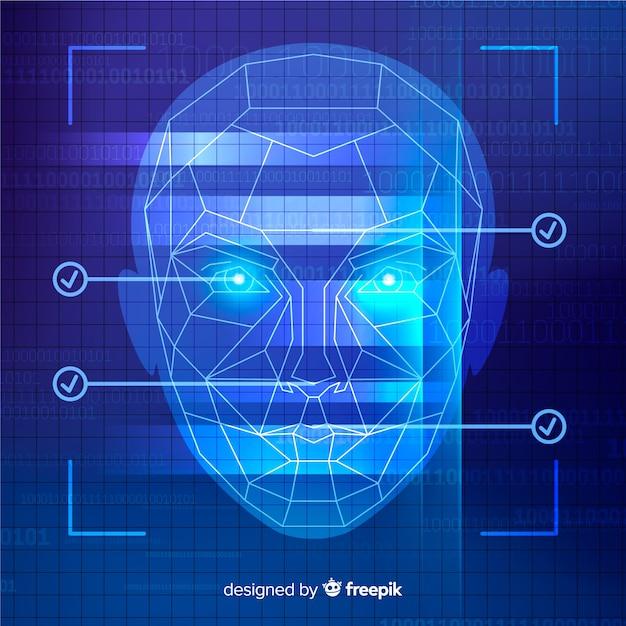 Fond bleu abstrait de reconnaissance faciale Vecteur gratuit