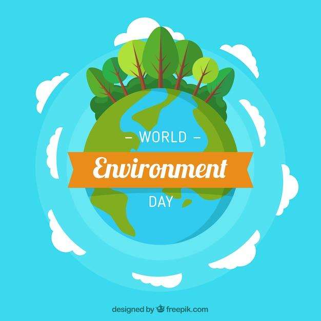 Fond bleu avec la planète Terre et les arbres Vecteur gratuit