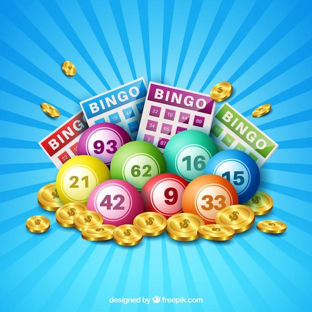 Fond bleu de balles de bingo avec des pièces de monnaie Vecteur gratuit