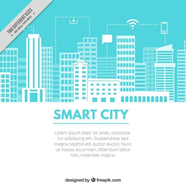 Fond bleu clair avec une ville technologique Vecteur gratuit