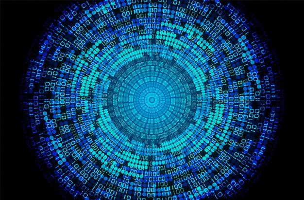 Fond bleu concept oeil bleu binaire cyber circuit futur technologie Vecteur Premium
