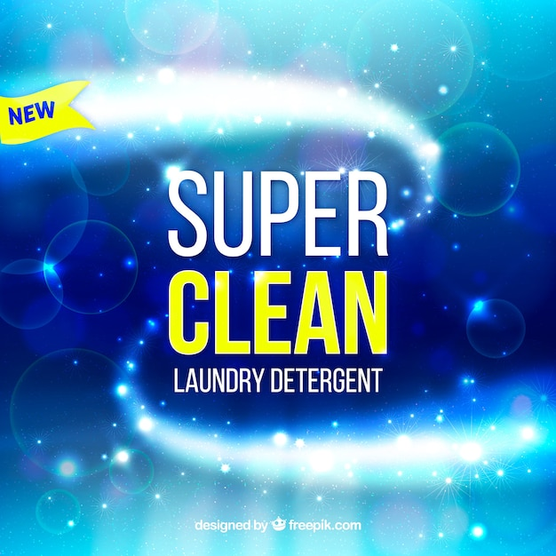 Fond bleu de détergent à lessive Vecteur gratuit