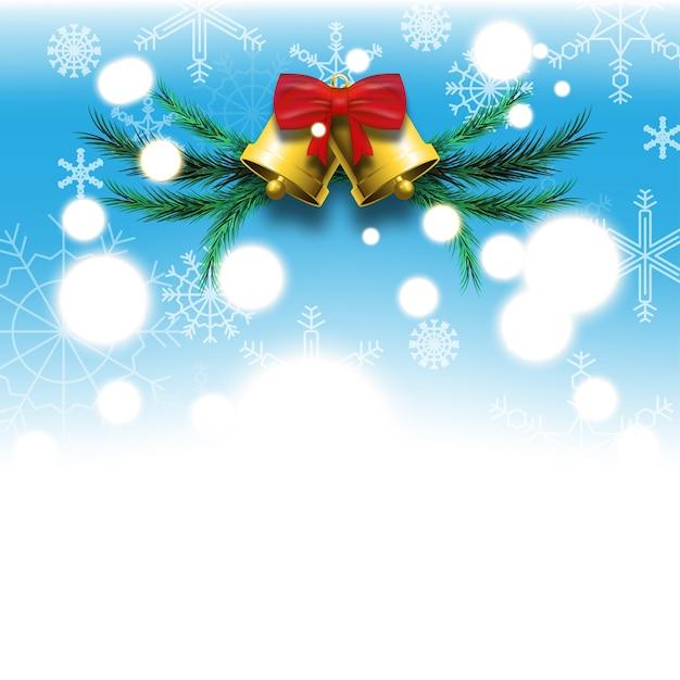 Fond Bleu Du Festival De Noël Et Du Nouvel An Avec Des Flocons De Neige Blancs Cloches Dorées, Arc Rouge Et Feuilles De Pin Vert Vecteur Premium