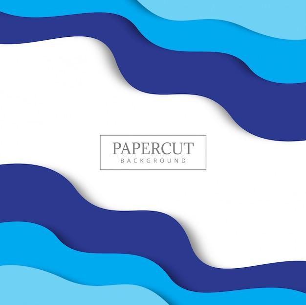 Fond bleu avec du papier coupe des formes. Vecteur gratuit