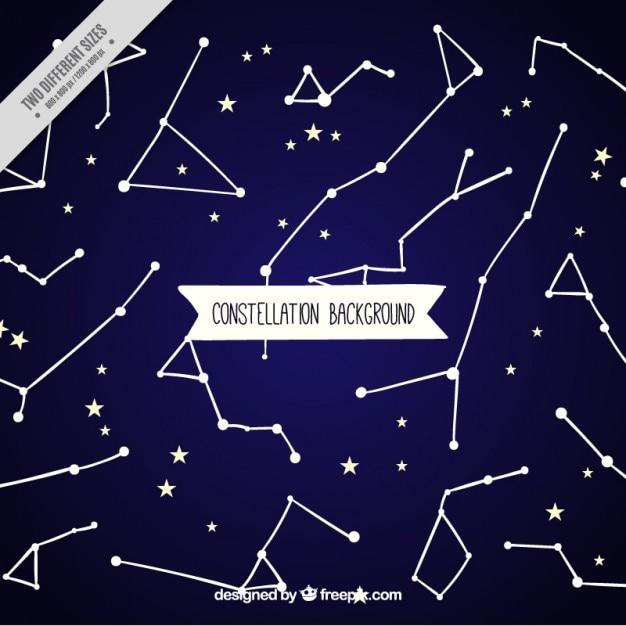 Fond Bleu Avec Des étoiles Et Des Constellations Vecteur gratuit