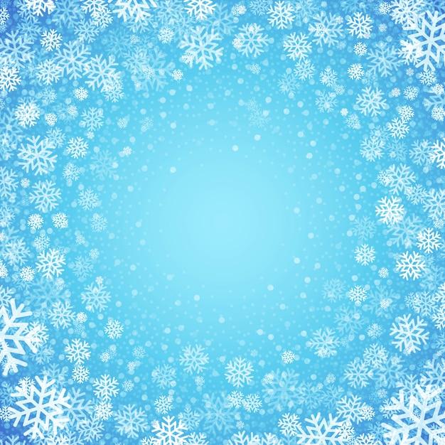 Fond Bleu Avec Des Flocons De Neige, Carte De Voeux Vecteur Premium