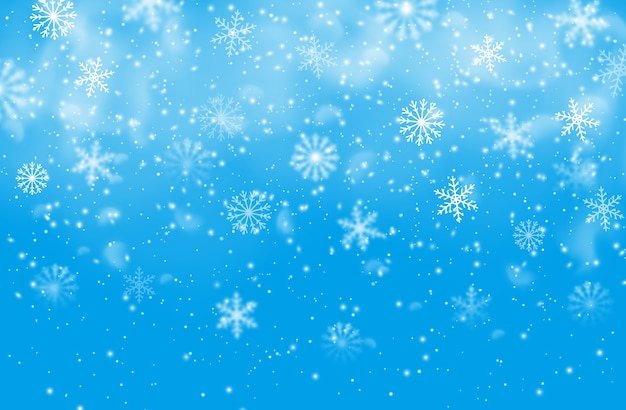 Fond Bleu De Flocons De Neige De Noël. Vecteur Premium