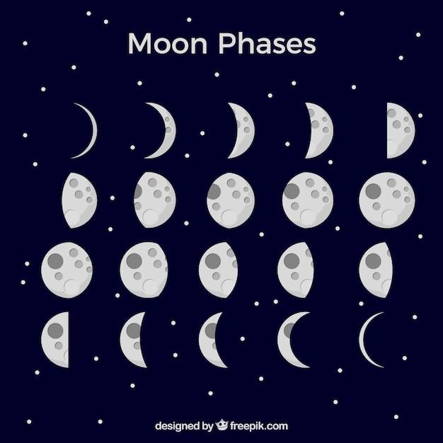 Fond bleu foncé avec des phases de lune Vecteur gratuit