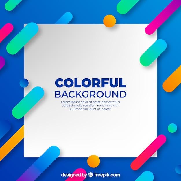 Fond bleu avec des formes colorées dans un design plat Vecteur gratuit