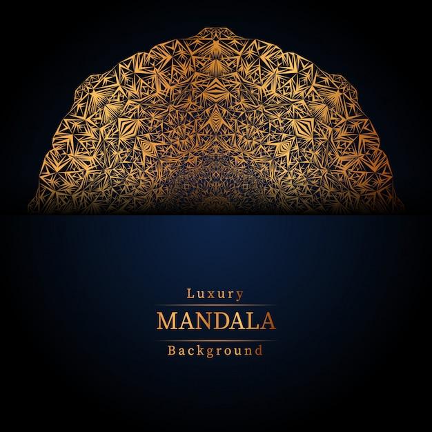 Fond Bleu Mandala De Luxe Vecteur Premium