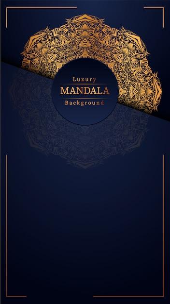 Fond Bleu Mandala Vecteur Premium