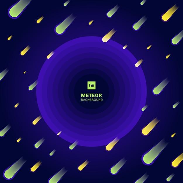 Fond bleu météore jaune Vecteur Premium