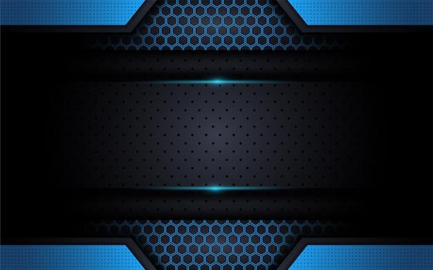 Fond Bleu Moderne Tech Avec Style Abstrait Vecteur Premium