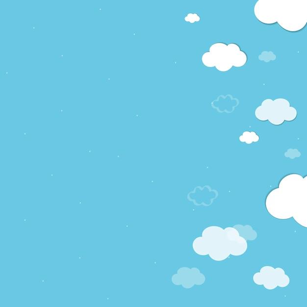 Fond bleu nuageux Vecteur gratuit