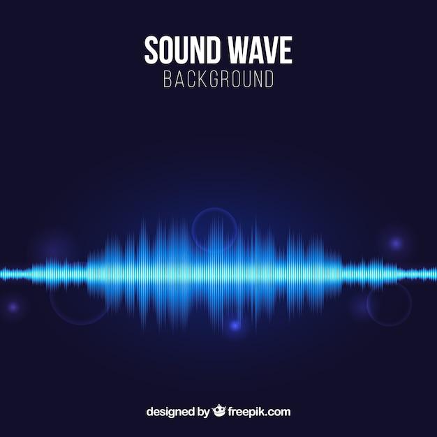 Fond Bleu Avec Des Ondes Sonores Et Des Formes Brillantes Vecteur gratuit
