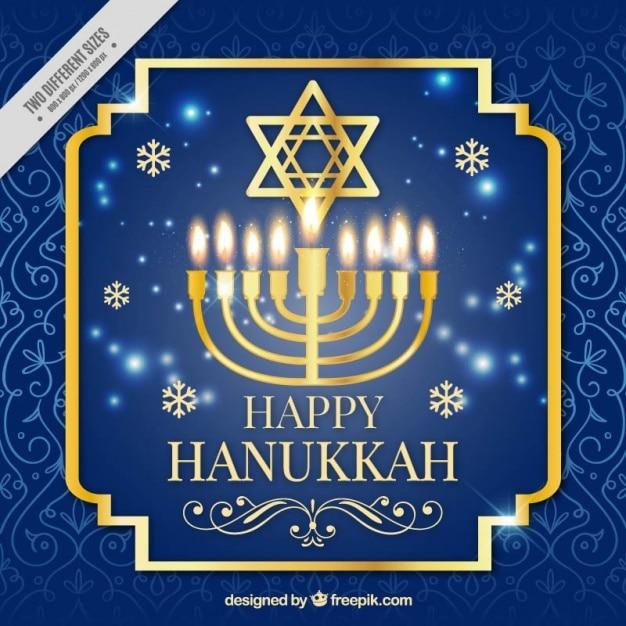 Fond bleu et or pour hanoucca Vecteur gratuit