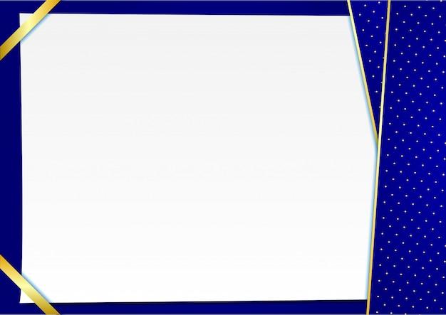 Fond bleu avec des points élégants dorés Vecteur Premium