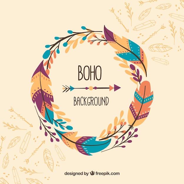 Fond De Boho Dans Le Style Hippie Vecteur gratuit