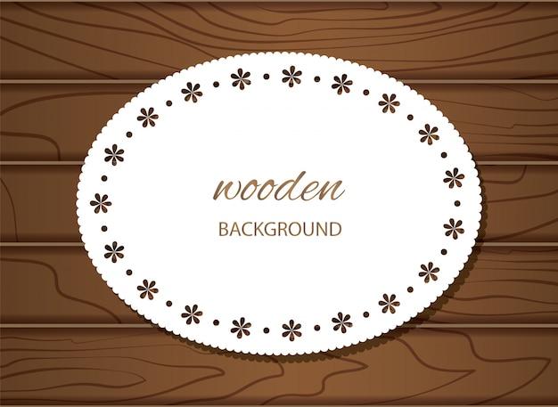 Fond Bois Avec Cadre Napperon. Vecteur Premium
