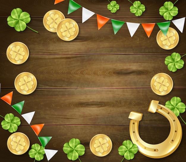 Fond En Bois Saint Patricks Day Vecteur gratuit