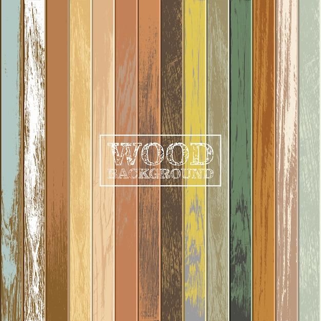 Fond En Bois Vintage Avec Des Couleurs Anciennes Et Fanées Vecteur Premium