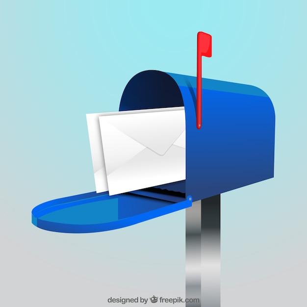 Fond de boîte aux lettres bleu avec des enveloppes Vecteur gratuit