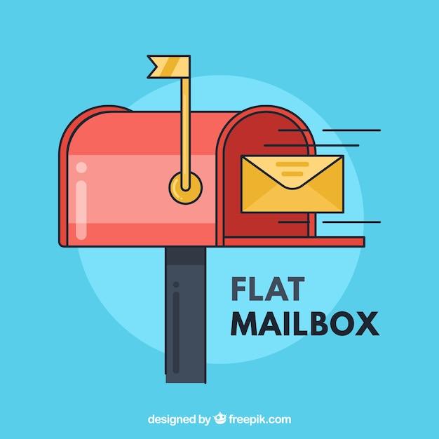 Fond de boîte aux lettres et enveloppe jaune design plat Vecteur gratuit
