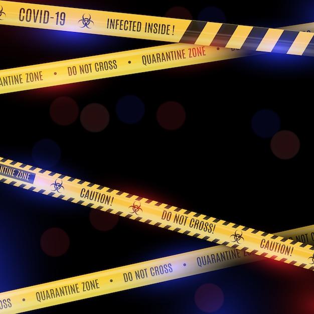 Fond De Bokeh Mystique Avec Des Bandes Poétiques à Rayures Jaunes, Des Bandes D'avertissement Sur Les Dangers Du Coronavirus Et De La Quarantaine. Vecteur Premium