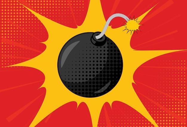 Fond avec une bombe dans le style pop art Vecteur Premium