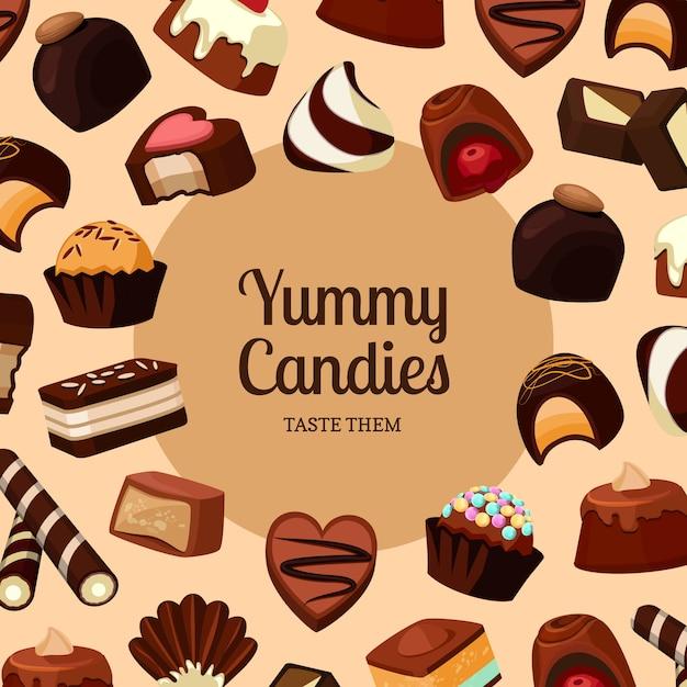 Fond avec des bonbons au chocolat place ftext et dessin animé Vecteur Premium