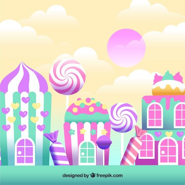 Fond De Bonbons Délicieux Terrain Dans Un Style Plat | Vecteur Gratuite