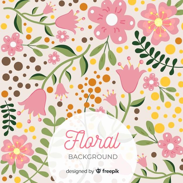 Fond Bondé De Fleurs Et De Feuilles Vecteur gratuit