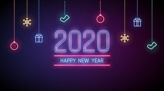Fond De Bonne Année 2020 Dans Les Néons Avec Des Ornements Vecteur Premium