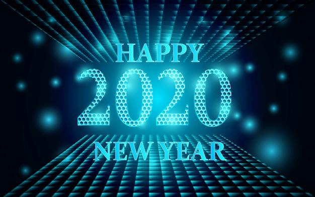 Fond de bonne année 2020 avec des formes brillantes Vecteur Premium