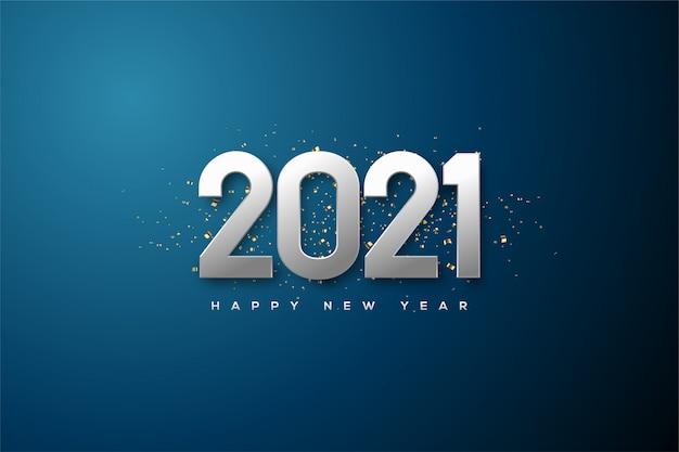 Fond De Bonne Année 2021 Avec Des Chiffres De Couleur Argent Métallique. Vecteur Premium