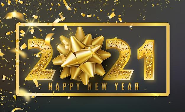 Fond De Bonne Année 2021 Avec Noeud De Cadeau Doré, Confettis, Numéros D'or De Paillettes Brillantes Vecteur gratuit