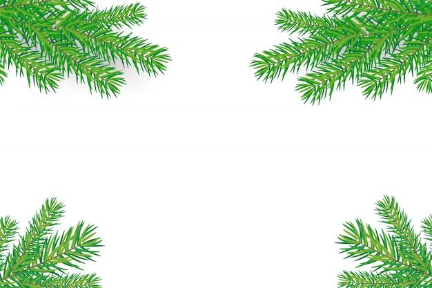 Fond de bonne année avec des branches d'arbres de noël Vecteur Premium