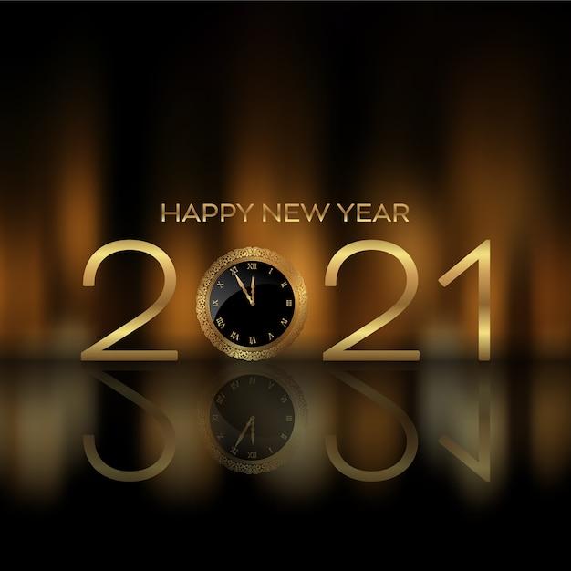 Fond De Bonne Année Avec Le Cadran De L'horloge Indiquant L'heure à Minuit Vecteur Premium