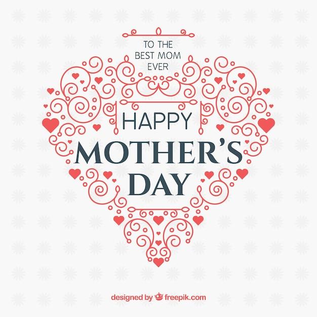 Fond de bonne fête des mères avec des ornements Vecteur gratuit