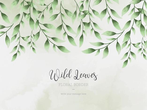 Fond De Bordure Florale De Feuilles Sauvages Avec Style Aquarelle Vecteur gratuit