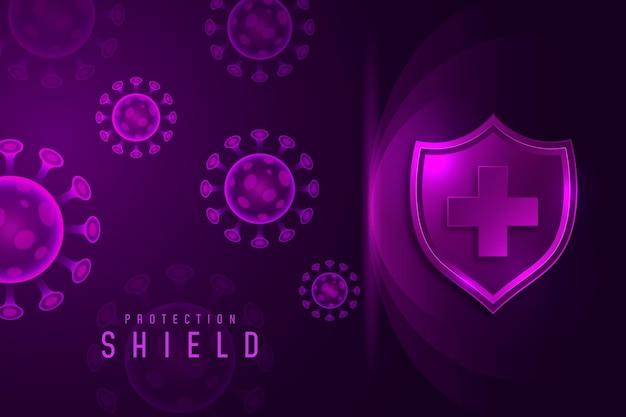 Fond De Bouclier De Protection Contre Les Coronavirus Vecteur Premium