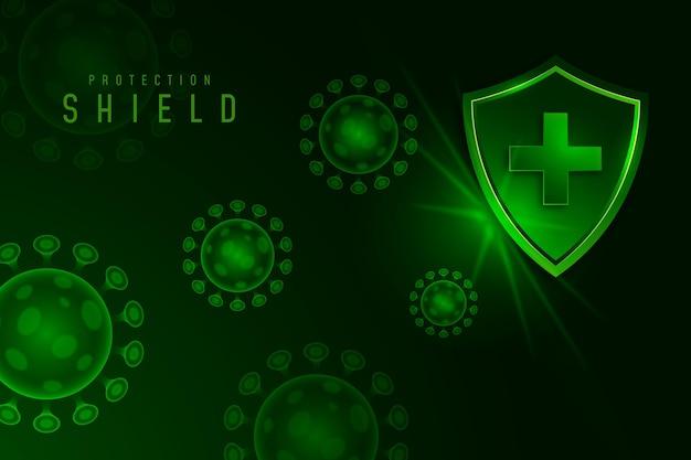 Fond De Bouclier De Protection Contre Les Coronavirus Vecteur gratuit
