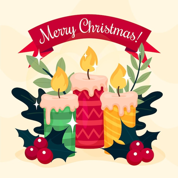 Fond De Bougie De Noël Dessiné à La Main Vecteur gratuit